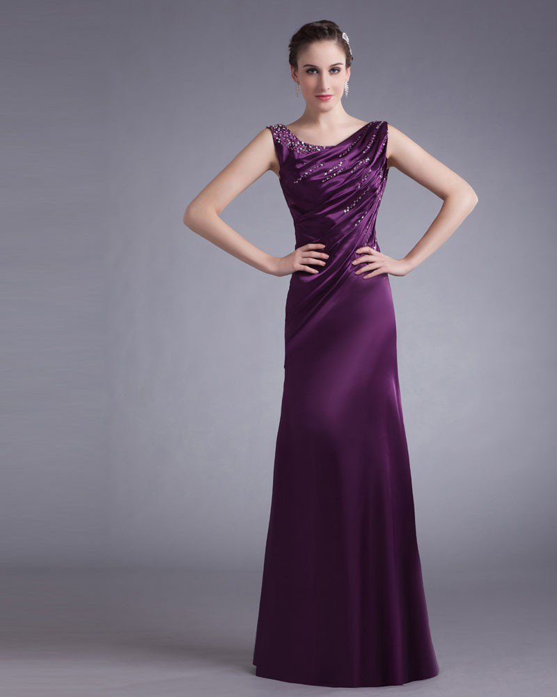 Charmeuse Ruffle Beading Scoop Floor Length Mother Of The Bride Dress