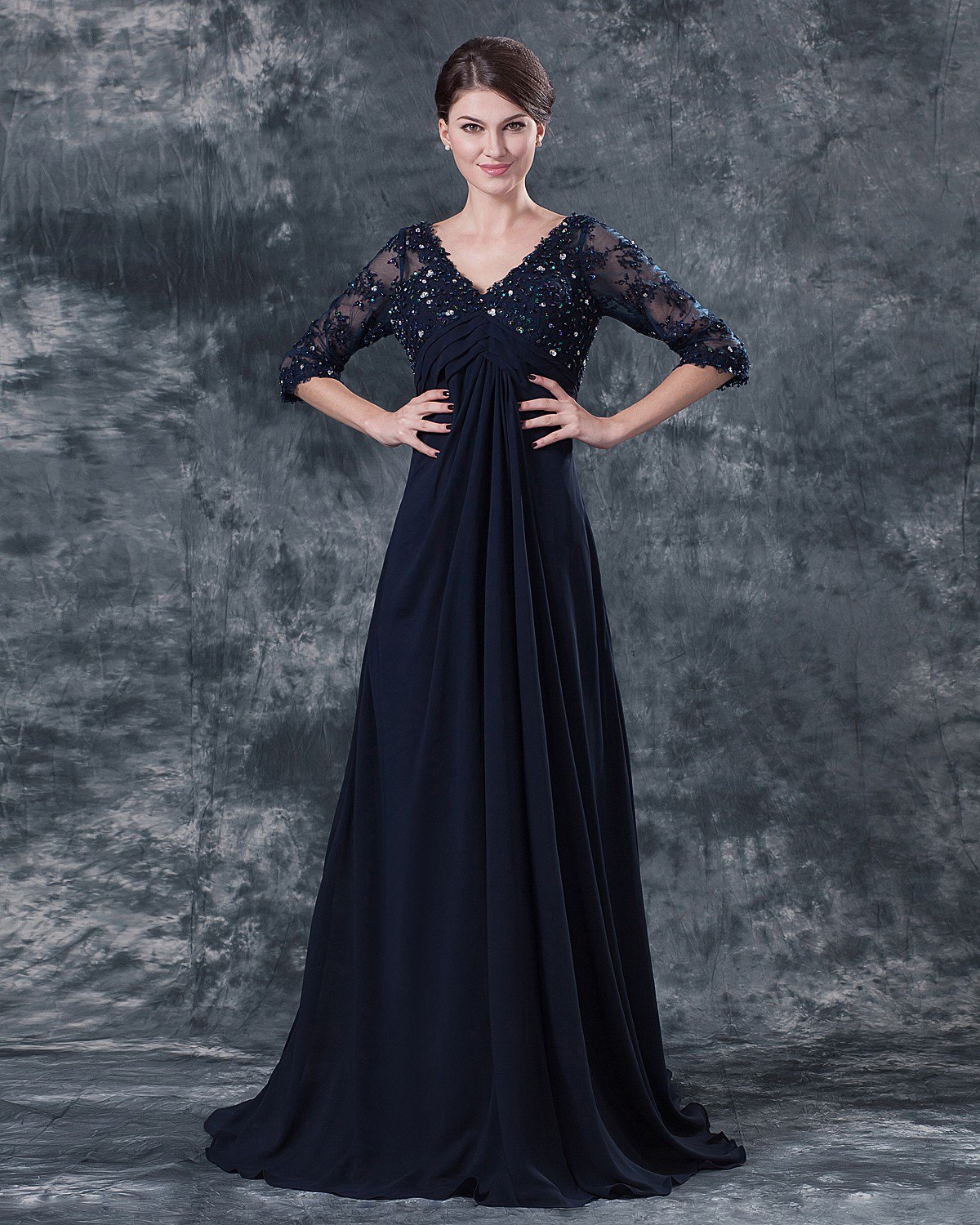 Pleated V Neck Chiffon Floor Length Mothers of Bride Guests Dresses
