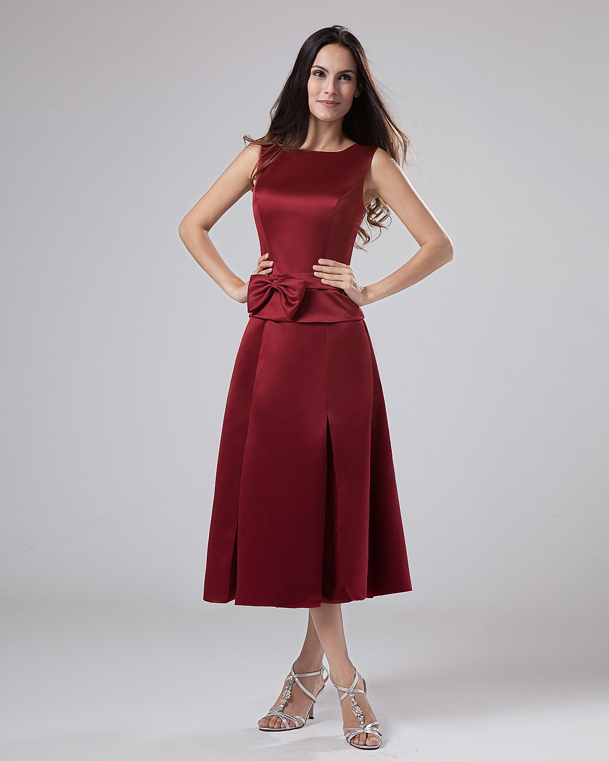 Satin Embroidery Strapless Tea Length Mothers of Bride Guests Dresses