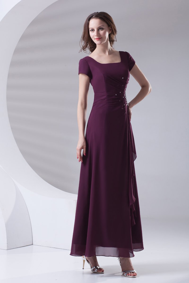 Square Beading Pleated Ankle Length Chiffon Mother of the Bride Dress