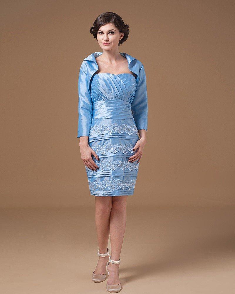 Taffeta Applique Sweetheart Knee Length Mothers of Bride Guests Dresses