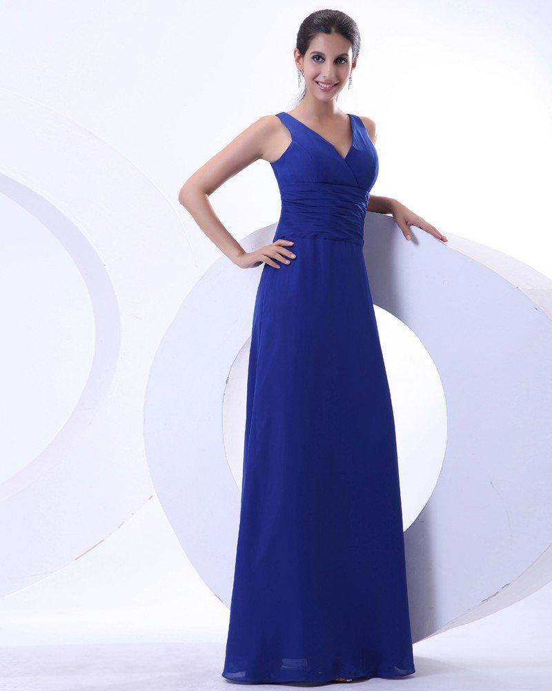 Elegant Chiffon Ruffles V Neck Floor Length Mother of the Bride Dress