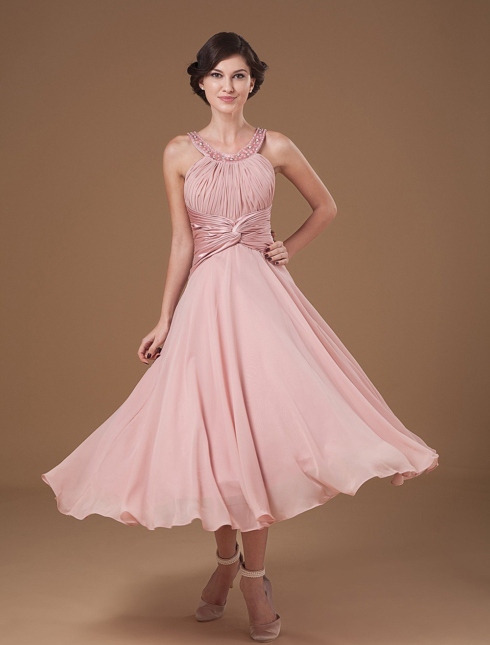 Chiffon Ruffle Halter Beading Tea Length Mothers of Bride Guests Dresses