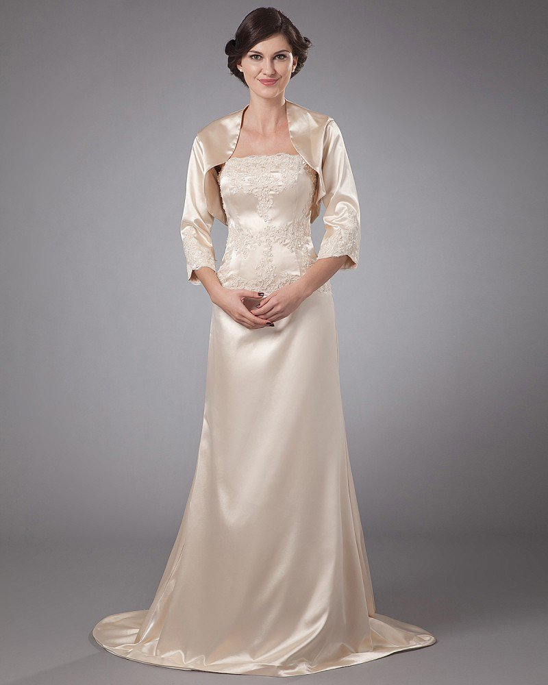 Satin Floor Length Ruffle Mothers of Bride Guests Dress