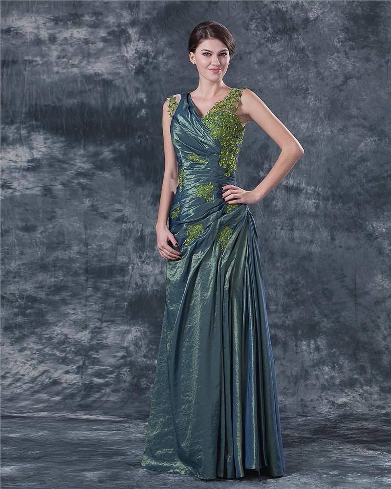 Satin V Neck Ruffle Applique Floor Length Mothers of Bride Guests Dresses