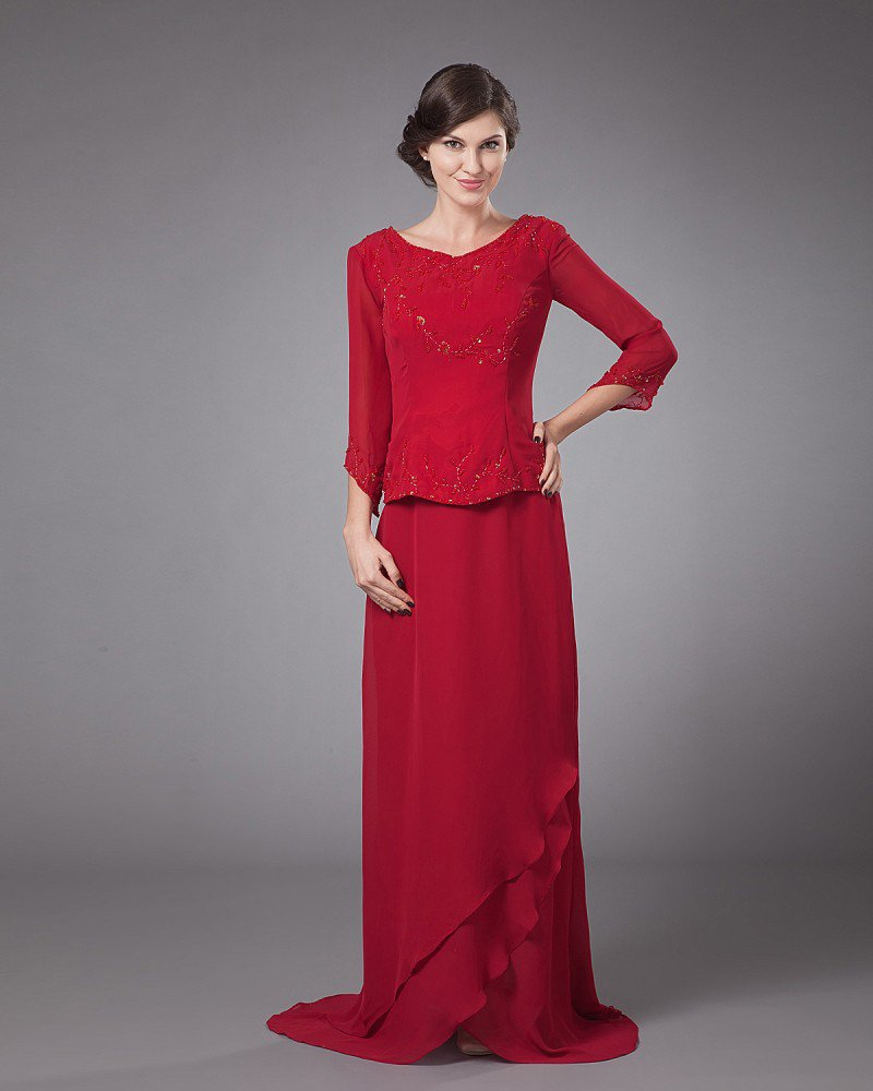 Chiffon Beading Pleated Round Neck Ankle Length Mothers of Bride Guests Dresses