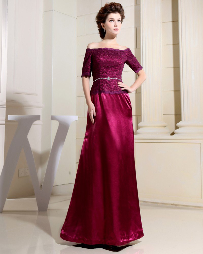 Strapless Short Sleeve Floor Length Empire Lace Beading Mother Of The Bride Dress