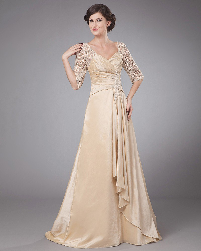 Taffeta Embroidery Ruffle Queen Anne Ankle Length Mothers of Bride Guests Dresses