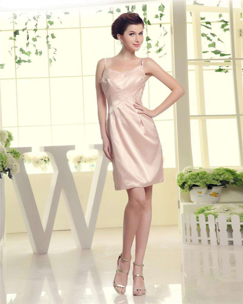 Knee Length V Neck Pleat Sleeve Beading Empire Silk Mother Of The Bride Dress