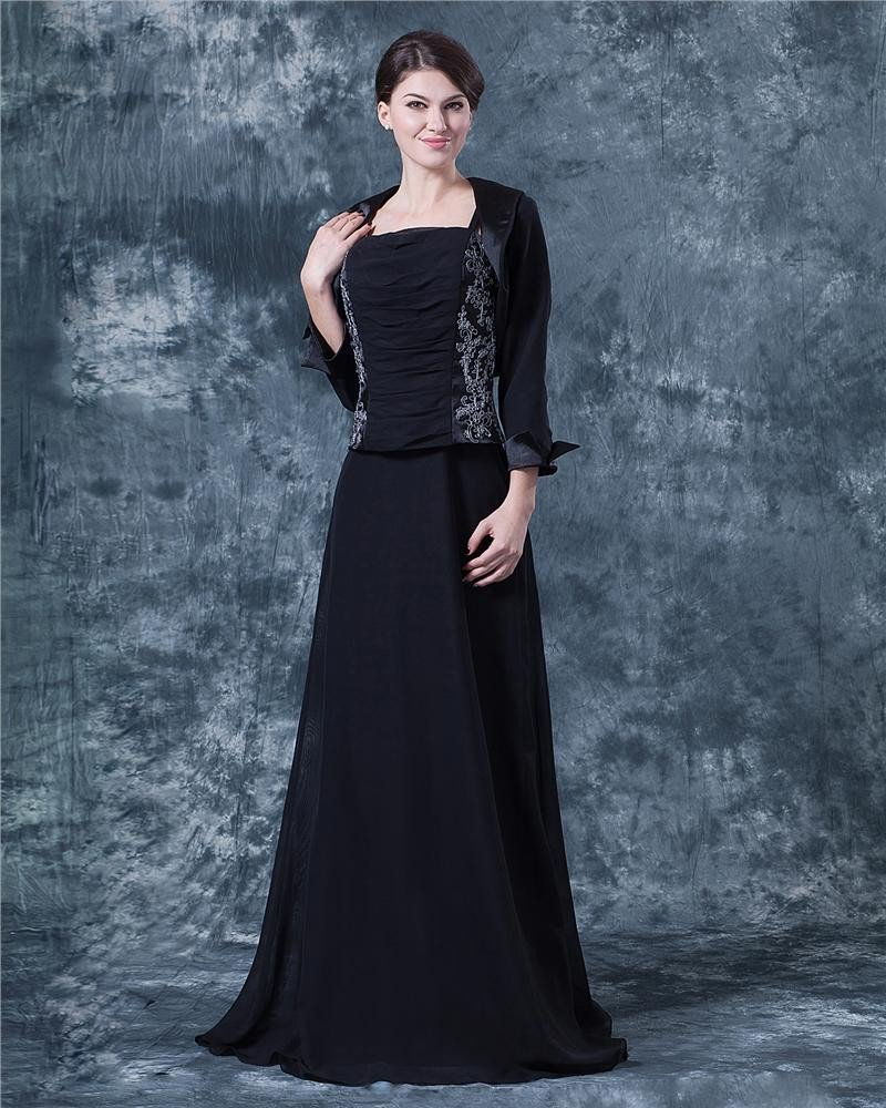 Chiffon Spaghetti Strap Floor Length Mother of Bride Dress
