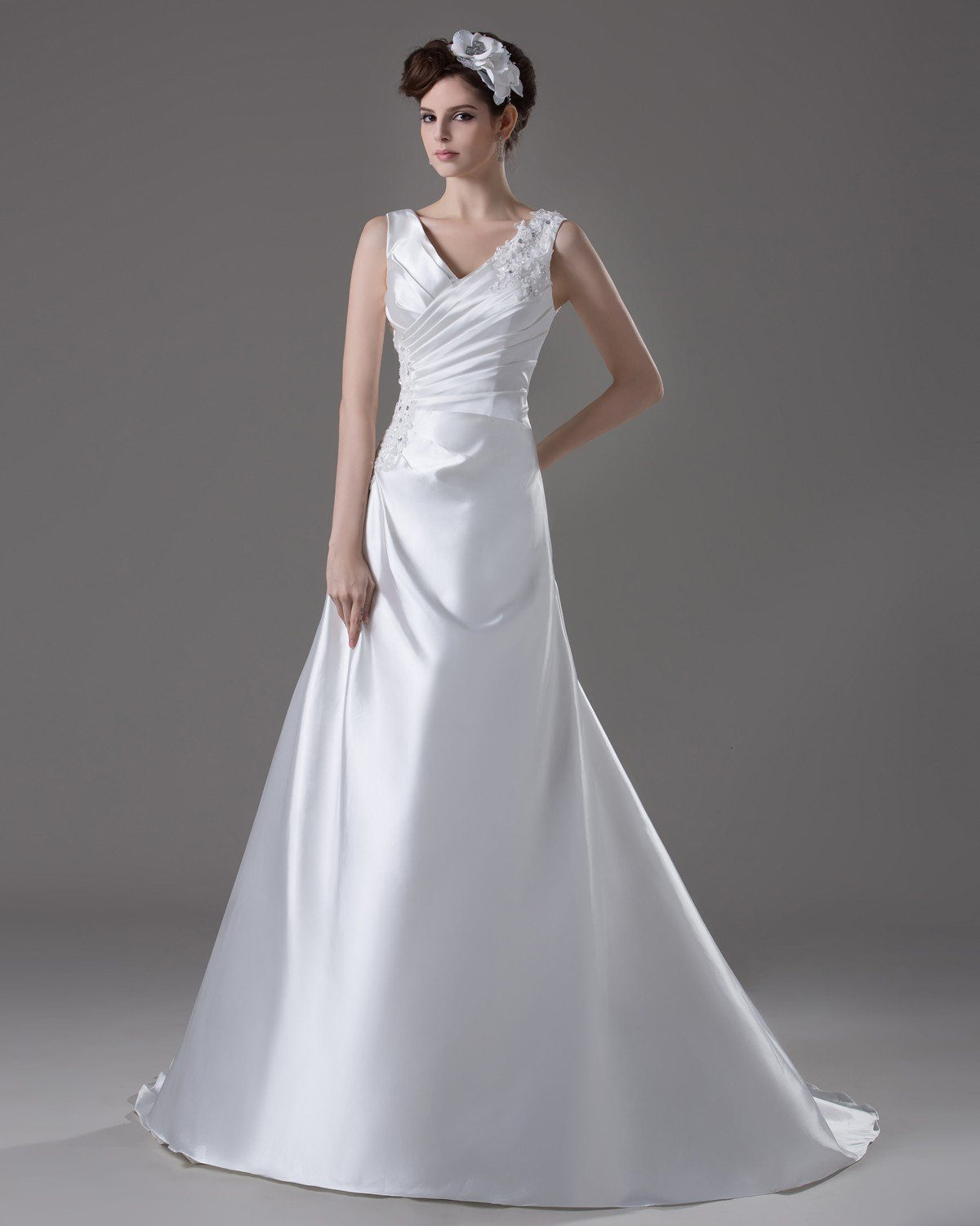 V Neckline Floor Length Pleated Beading Flower Satin A Line Wedding Dress