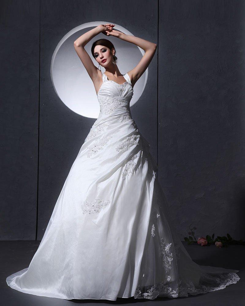 Taffeta Tulle Ruffle Applique Baldric Chapel A-Line Bridal Gown Wedding Dresses