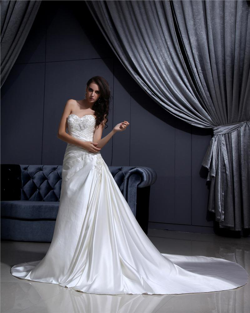 Strapless Lace Up Sleeveless Floor Length Applique Beading Ruffle Charmeuse Woman A Line Wedding Dre