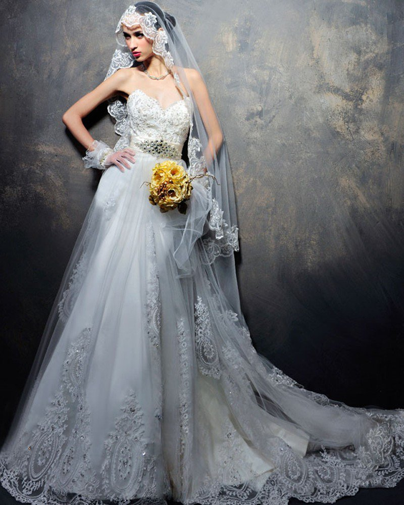 Satin Tulle Lacework Beading Sweetheart Floor Length Court Train A-Line Wedding Dress