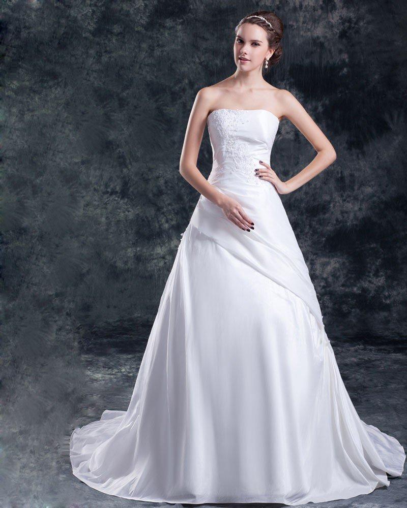 Taffeta Sequins Applique Court Train Strapless Ball Gown Women A Line Wedding Dress