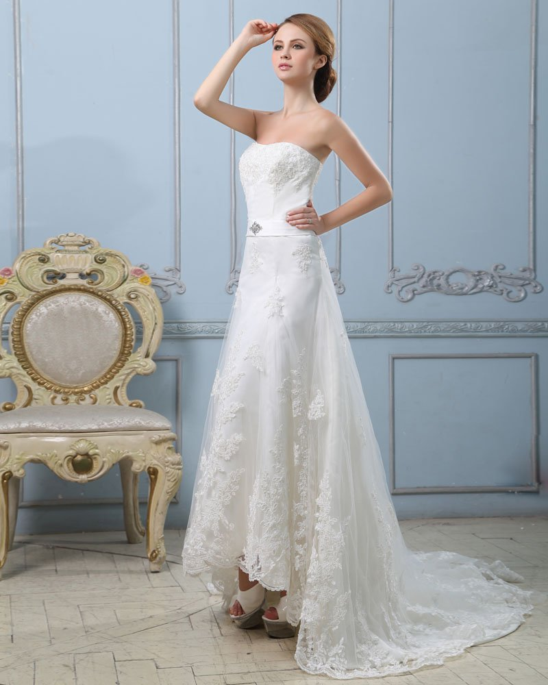 Elegant Solid Applique Lacework A-Line Strapless Back Zipper Court Train Satin Wedding Dress