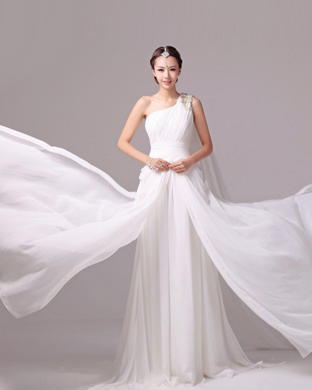 Elegant Solid Ruffles Beading One Shoulder Charmeuse A Line Wedding Dress