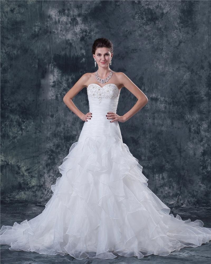 Yarn Beaded Strapless Court A-line Bridal Gown Wedding Dress