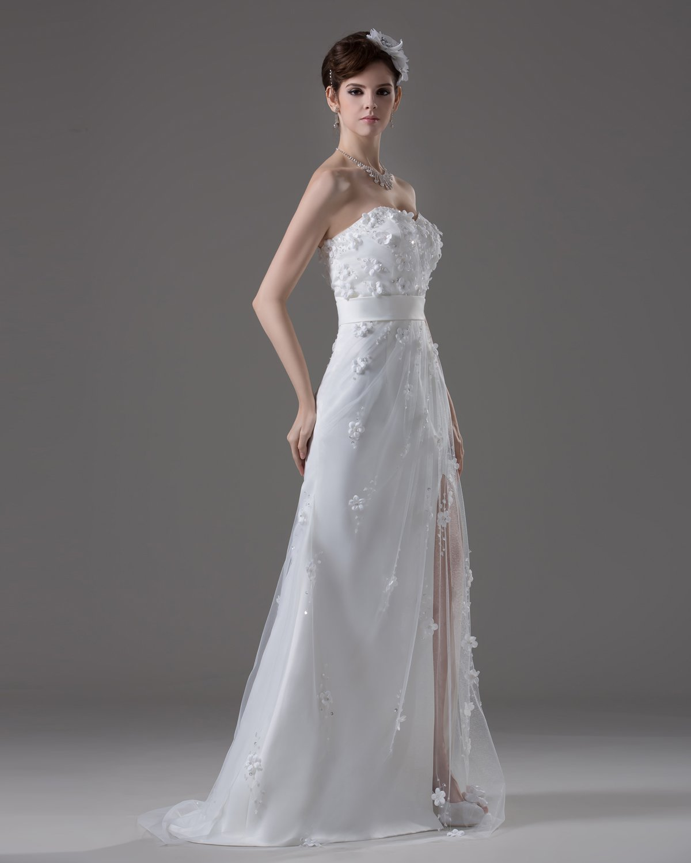 Sweetheart Floor Length Flowers Beading Satin A Line Wedding Dress