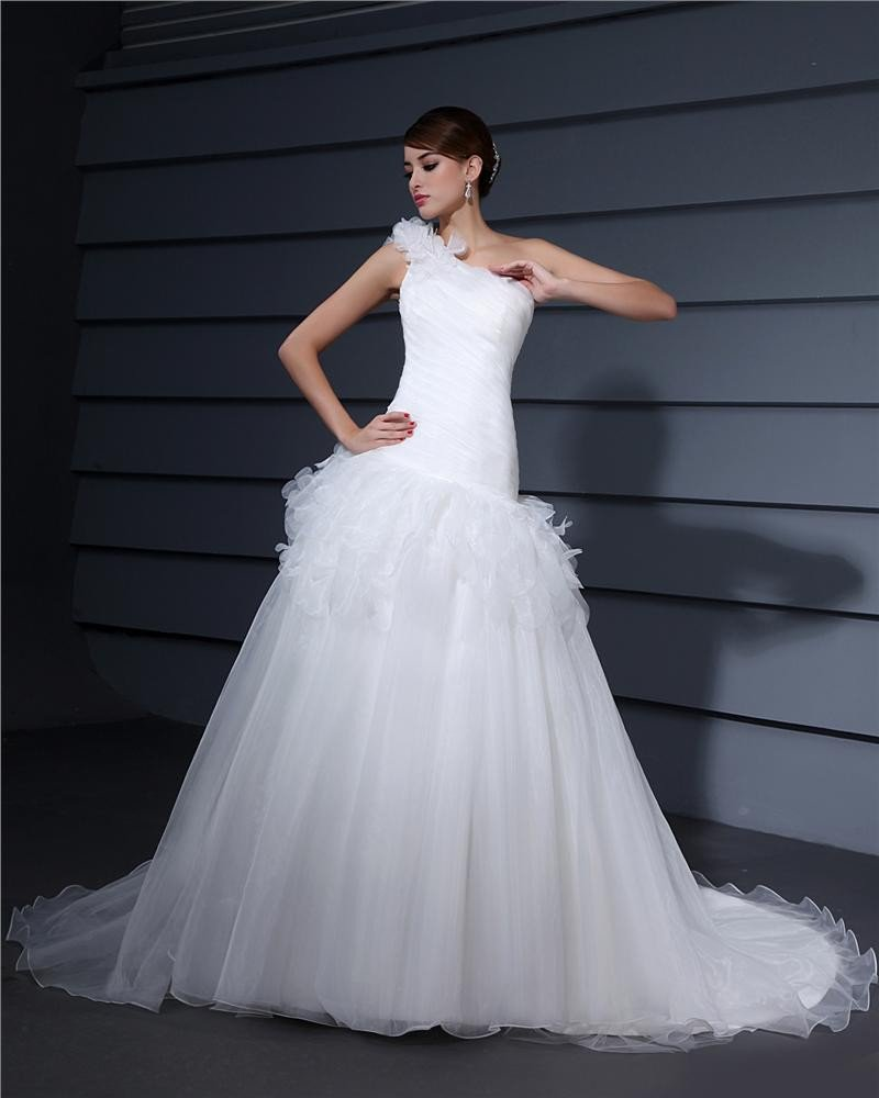 One Shoulder Floor Length Ruffles Flower Pleated Satin A Line Wedding Dress