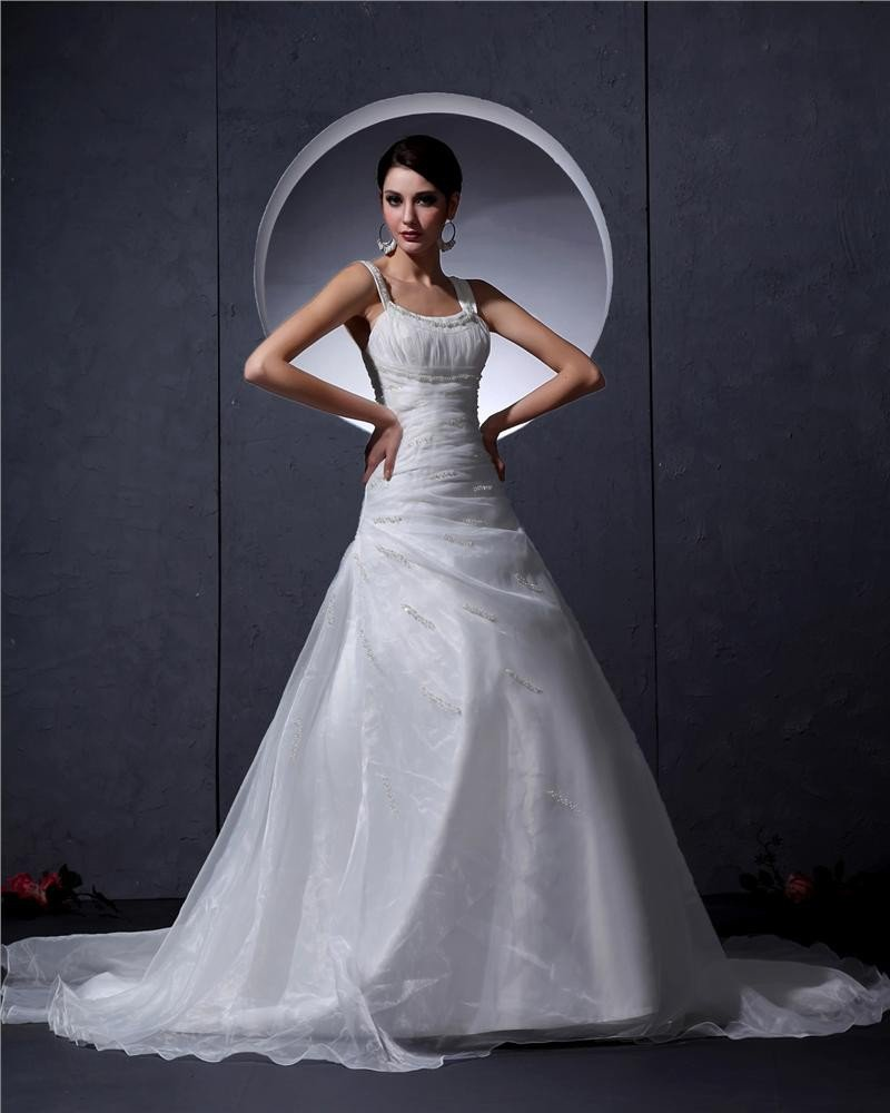 Embroidery Scoop Court Mermaid Bridal Gown Wedding Dress