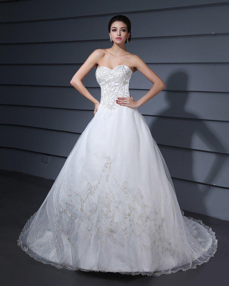 Monarch Train Embroidery Yarn Strapless A-Line Wedding Dress