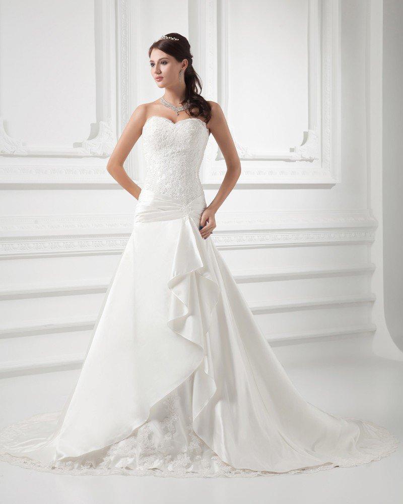 Satin Beads Applique Sweetheart Court Train A Line Wedding Dress