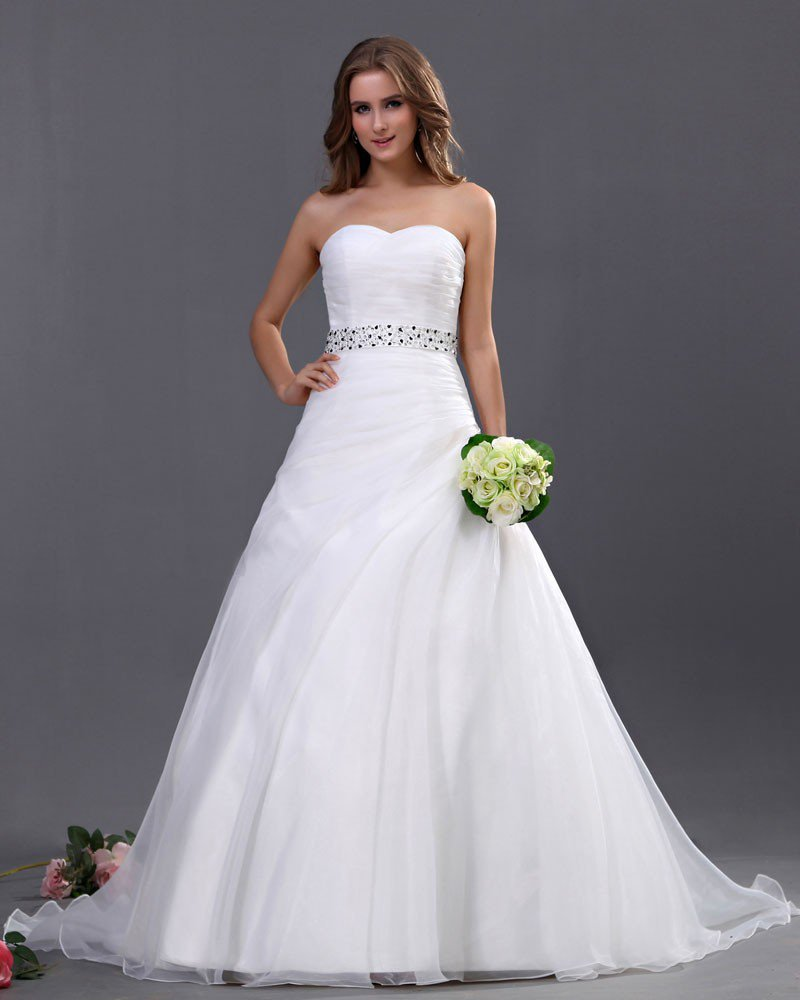 Organza Bead Embellishment Sweetheart Chapel A-Line Bridal Gown Wedding Dresses