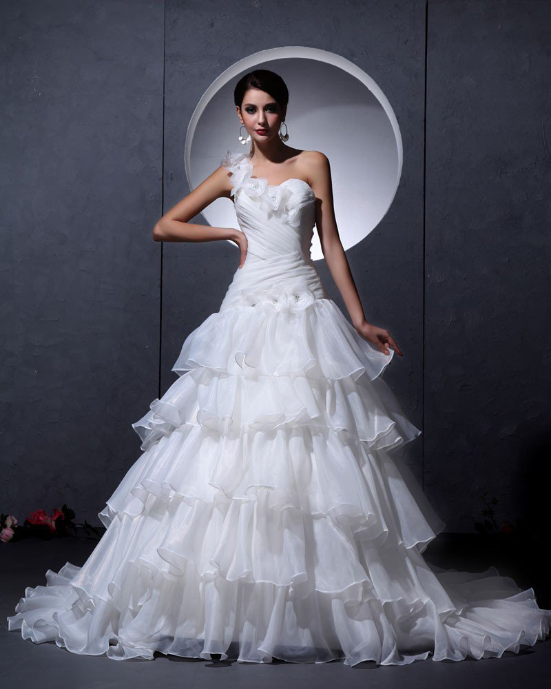 Yarn Satin Ruffles Handmade Flower Sleeveless One Shoulder Chapel Train A-Line Wedding Dresses