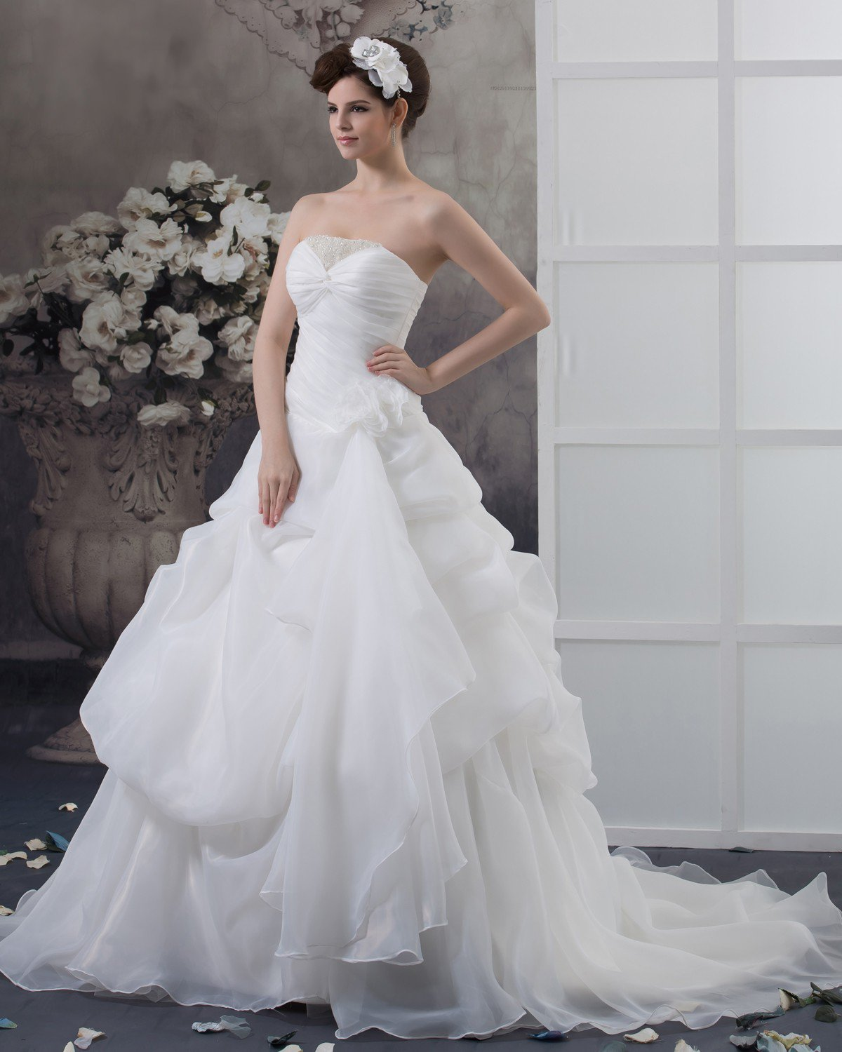 Satin Beading Ruffles Strapless Chapel A-Line Bridal Gown Wedding Dresses