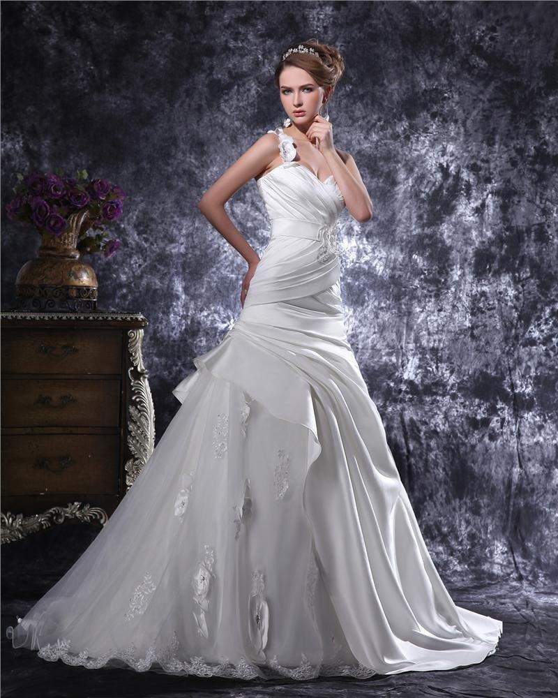 One Shoulder Beading Ruffle Floor Length Satin Mermaid Wedding Dress