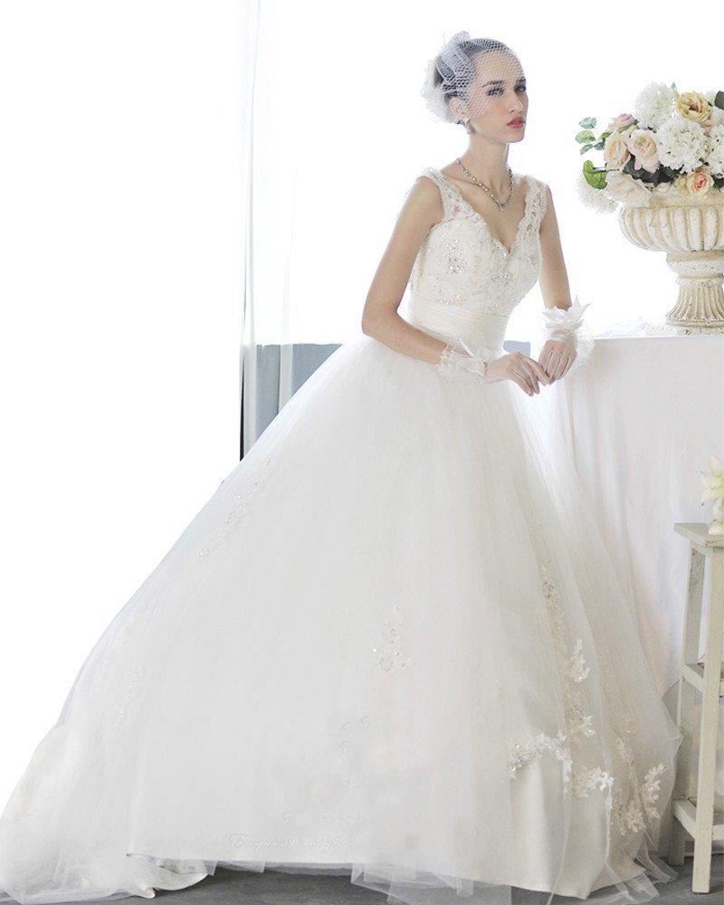 Satin Tulle Beading V Neck Floor Length Court Train A-Line Wedding Dress