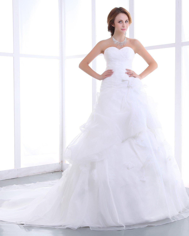 Elegant Mermaid Strapless Organza Satin A-Line Wedding Dress