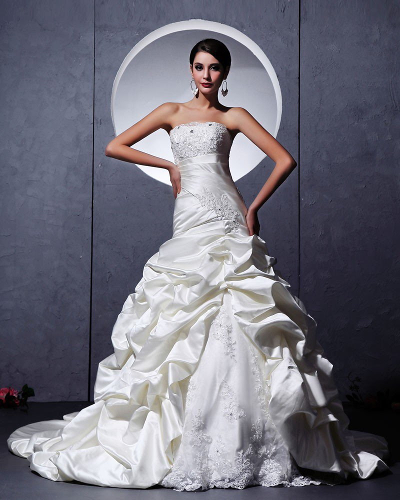 Satin Tulle Ruffle Applique Embellishment Sweetheart Chapel A-Line Bridal Gown Wedding Dresses