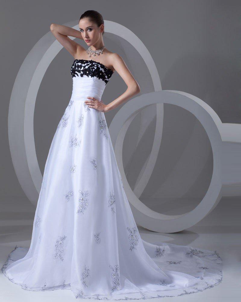 Organza Ruffle Beads Flower Strapless Court Train Women A Line Wedding Dress