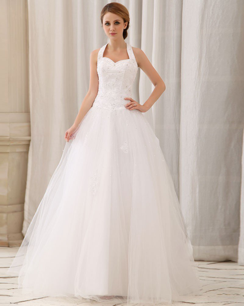 Elegant Solid Applique Beading Paillette A-Line Halter Back Zipper Court Train Satin Wedding Dress