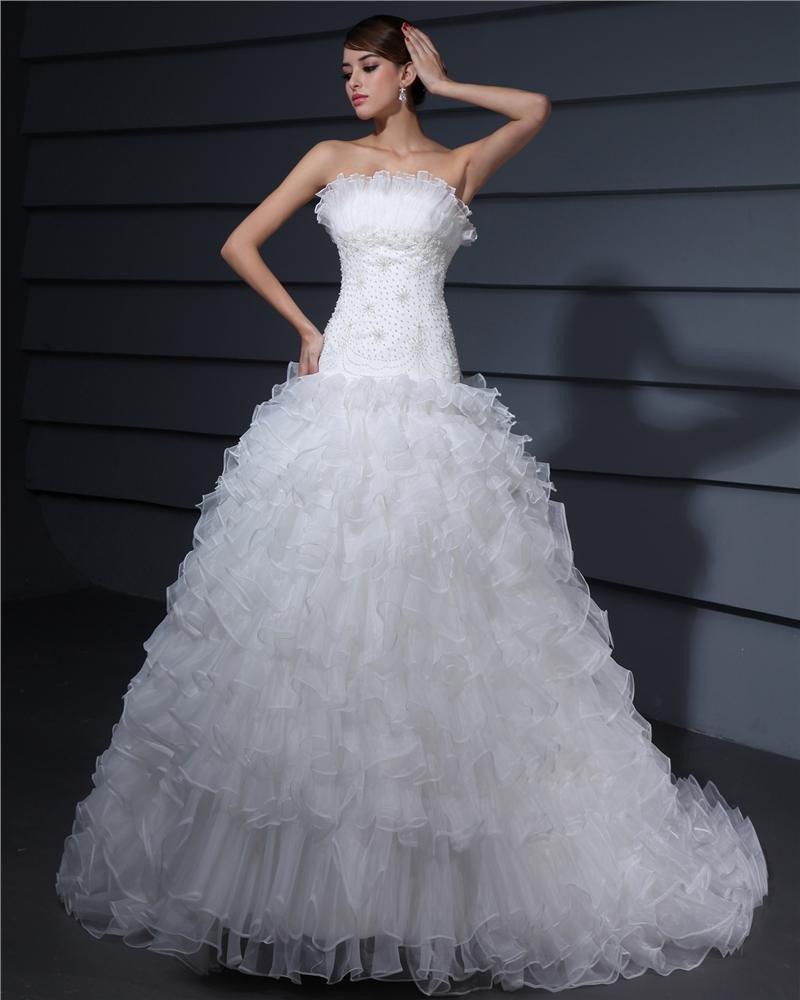 Strapless Sweetheart Ruffle Organza A Line Wedding Dress