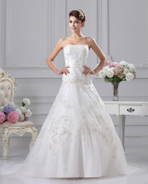 Elegant Embroidery Beading Strapless Floor Length Satin A Line Wedding Dress