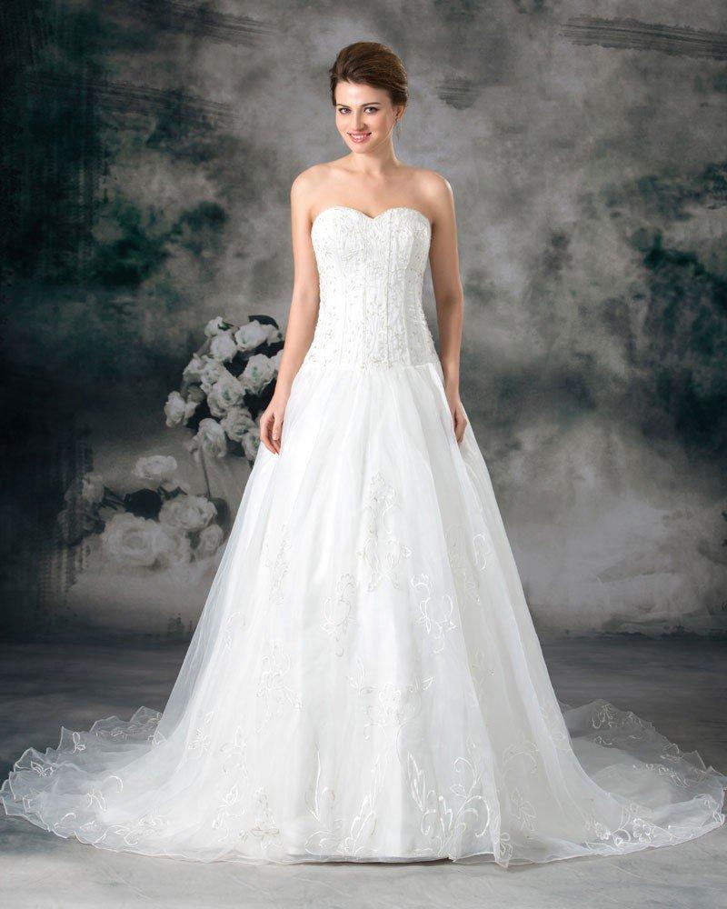 Organza Beading Embroidery Sweetheart Floor Length Court Train A-Line Wedding Dress