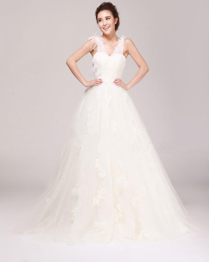 V Neck Flower Beading Floor Length Satin Tulle A Line Wedding Dress