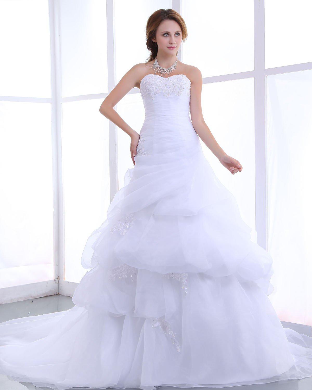 Sweetheart Beading Ruffles Organza Chapel Train A Line Wedding Dress