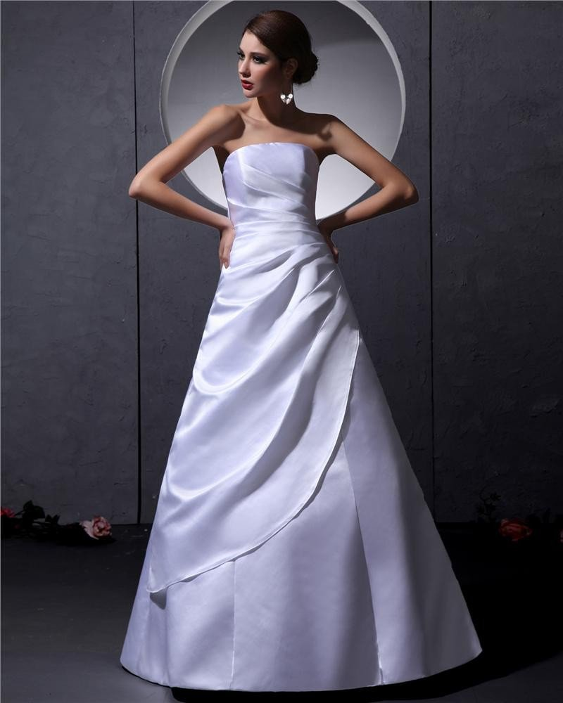Strapless Sleeveless Lace Up Floor Length Ruffle Taffeta Woman A Line Wedding Dress