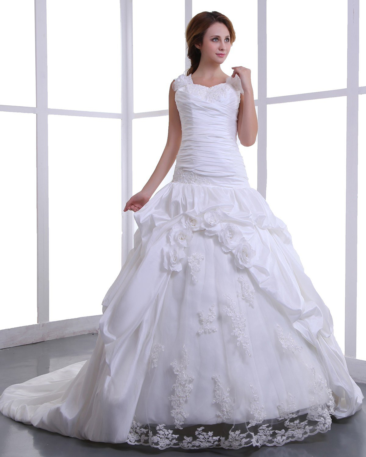 Square Taffeta Embroidery Bead Cathedral Train A-Line Wedding Dress 170001