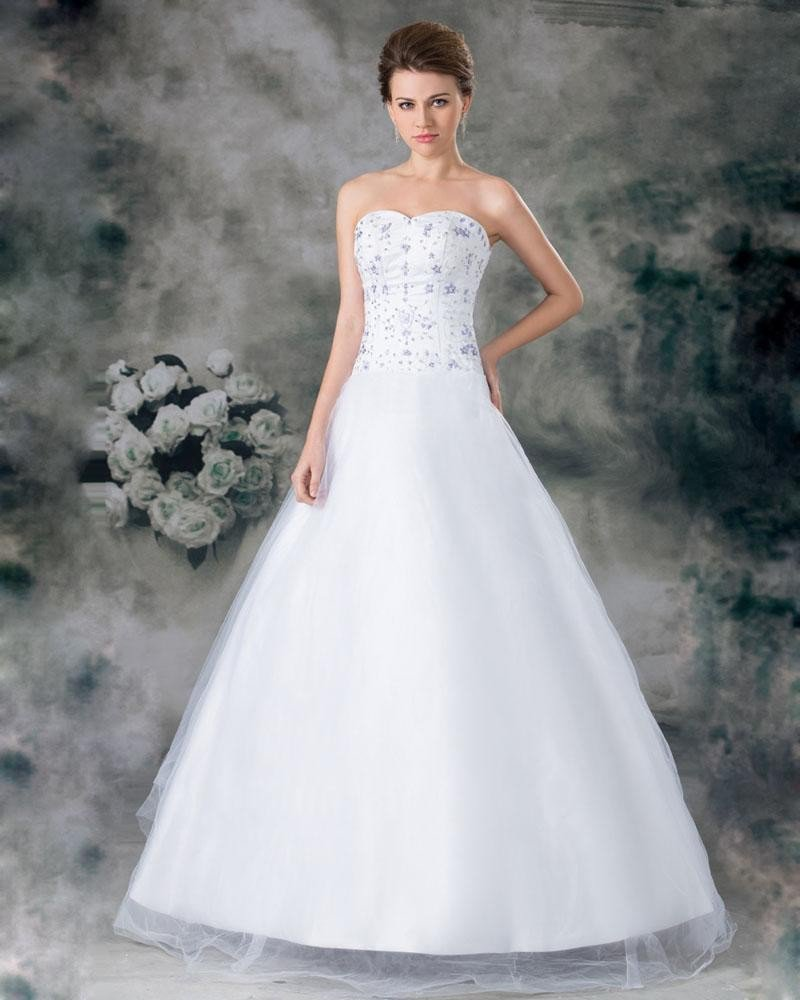 Organza Beading Applique Sweetheart Floor Length A Line Wedding Dress