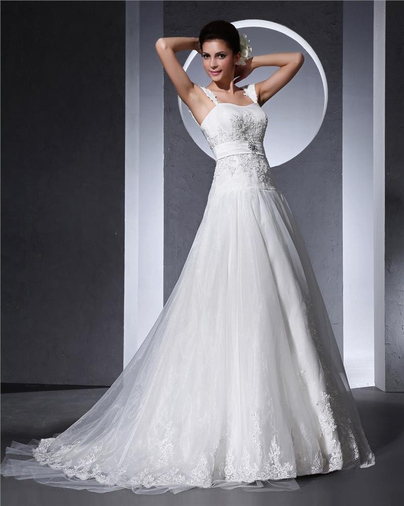 Shoulder Straps Applique Floor Length Organza Woman A Line Wedding Dress