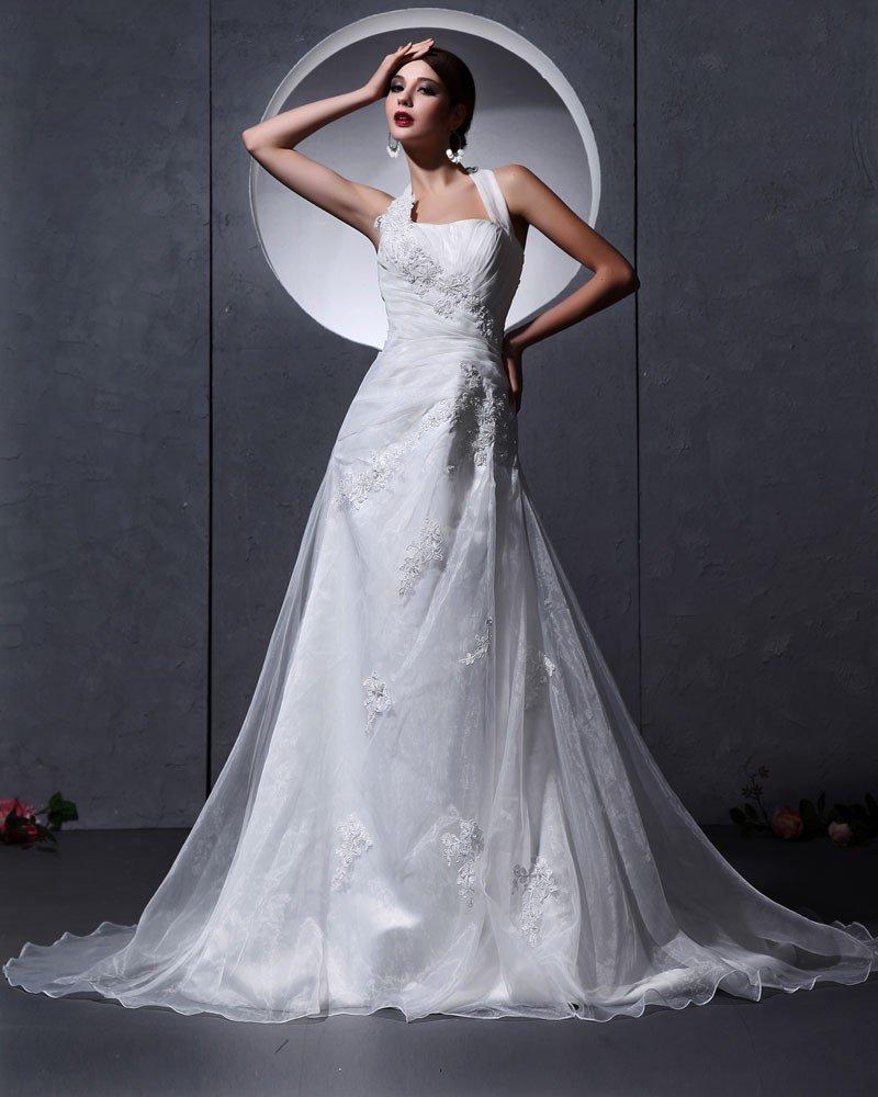 Organza Applique Bead Ruffle Embellishment Halter Chapel A-Line Bridal Gown Wedding Dresses