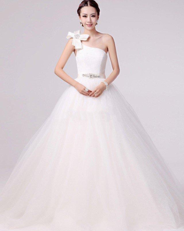 Fresh Applique Beading One Shoulder Satin A Line Wedding Dress