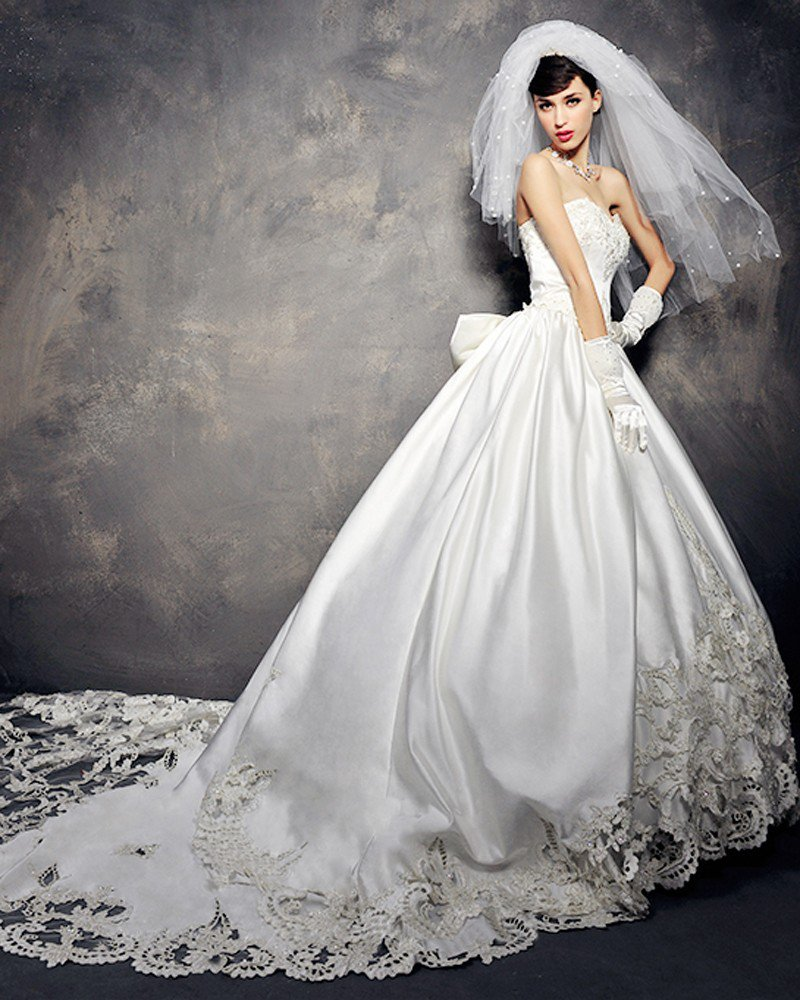 Satin Tulle Lace Beading Bowknot Embroidery Sweetheart Floor Length Cathedral Train A-Line Wedding D