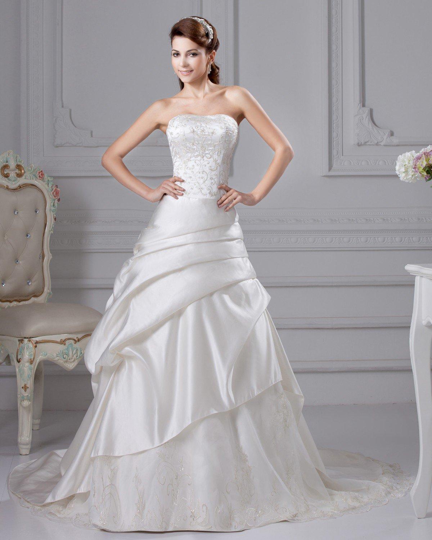 Taffeta Embroidery Ruffle Court A Line Bridal Gown Wedding Dresses