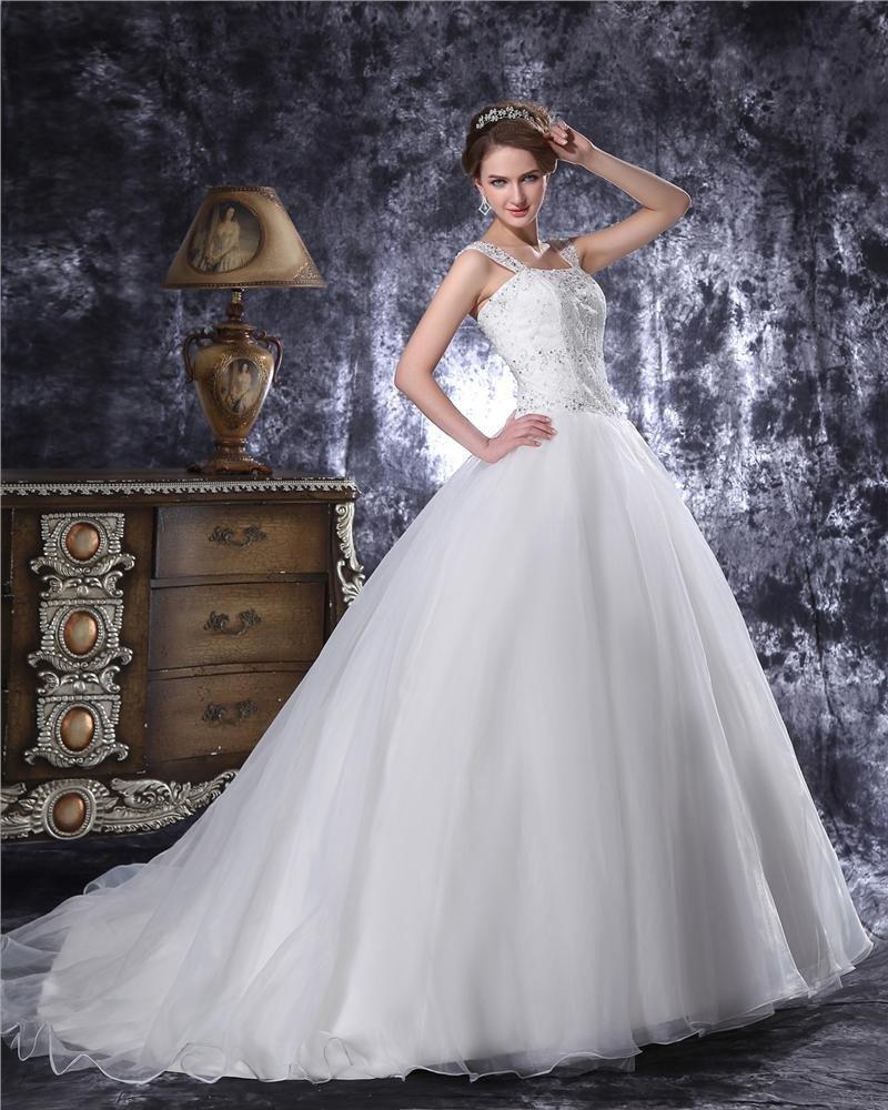 Square Floor Length Beading Organza Women Ball Gown Wedding Dress